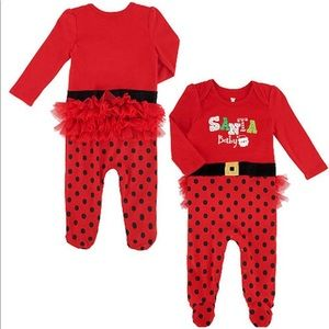 Baby Girls SANTA BABY Footed Christmas Bodysuit